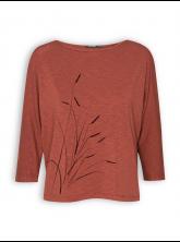 Shirt von GreenBomb in bombay brown mit Print Plants Reed