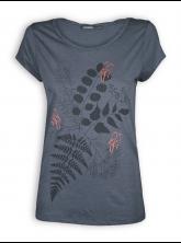 T-Shirt von GreenBomb in sea grey mit Print Plants Birds in Love
