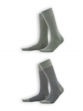 Socken Arni (2er Pack) von Living Crafts in olive/indigo melange