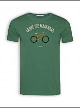 "T-Shirt von GreenBomb in bottle green mit Print Bike ""Leave the Main Road"""