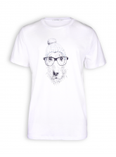 T-Shirt von GreenBomb in white mit Print Animal Dog Glasses