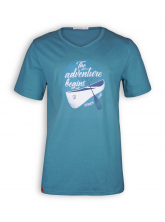 V-Neck T-Shirt von GreenBomb in storm blue mit Print Nature Adventure