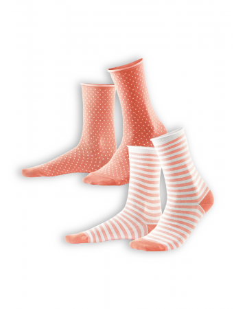 Socken Alexis (2-er Pack) von Living Crafts in coral/white