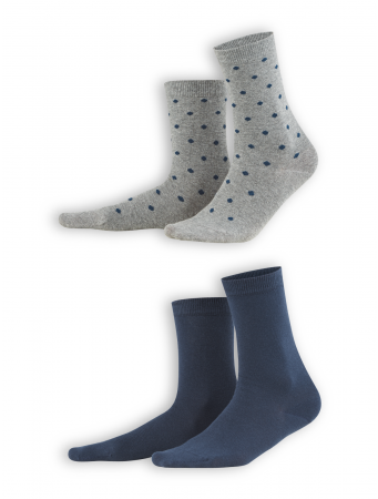 Socken Bettina (2-er Pack) von Living Crafts in night blue/dots