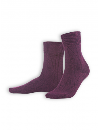 Socken Britt von Living Crafts in dark prune mouliné