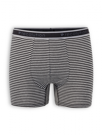 Boxerbrief von recolution in grey mélange / black striped