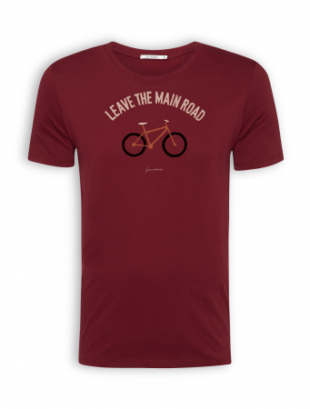 "T-Shirt von GreenBomb in burgundy mit Print Bike ""Leave the Main Road"""