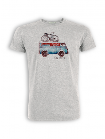 T-Shirt von GreenBomb in heather grey mit Print Bus