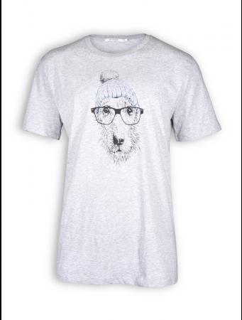 T-Shirt von GreenBomb in heather grey mit Print Animal Dog Glasses