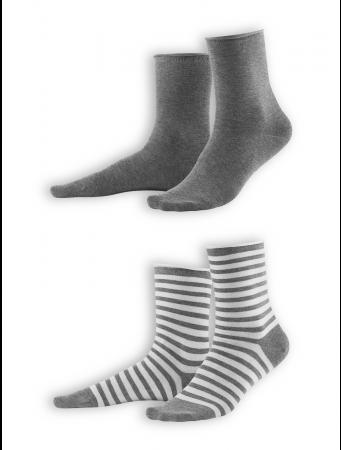 Socken Alexis (2-er Pack) von Living Crafts in stone grey/melange white