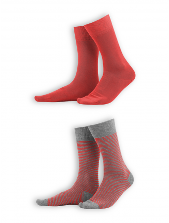 Socken Arni (2er Pack) von Living Crafts in poppy/grey