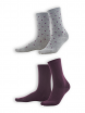 Socken Bettina (2-er Pack) von Living Crafts in dark prune/dots