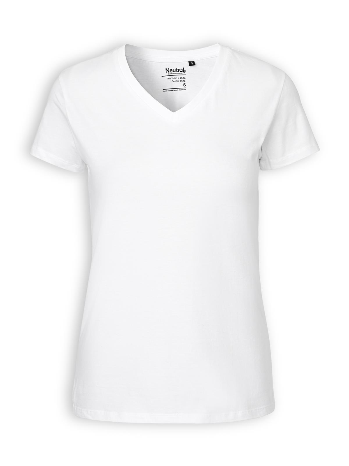 Neutral V-neck T-shirt in white. Zoom